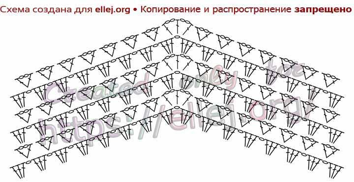Схема узора основного полотна для блузы крючком