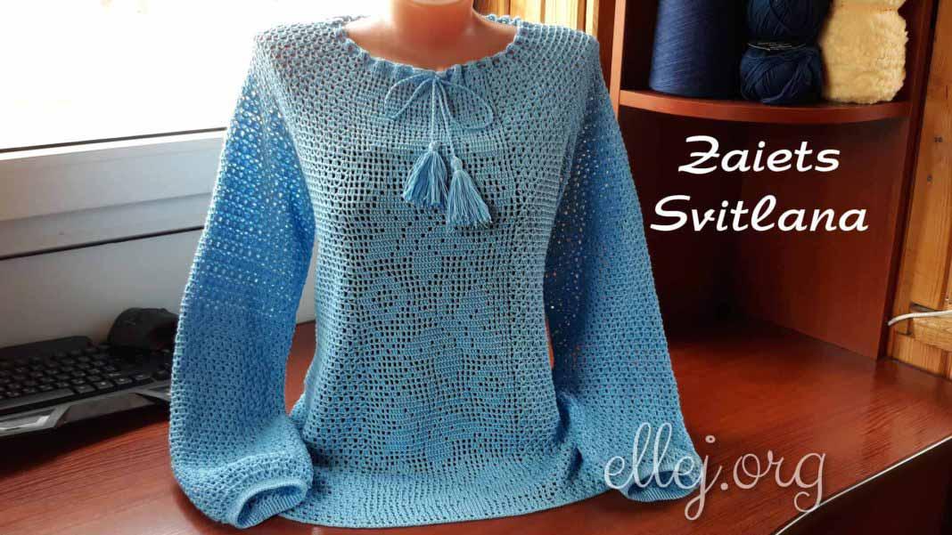 Голубая блуза крючком с бабочками. МК Светланы Заец