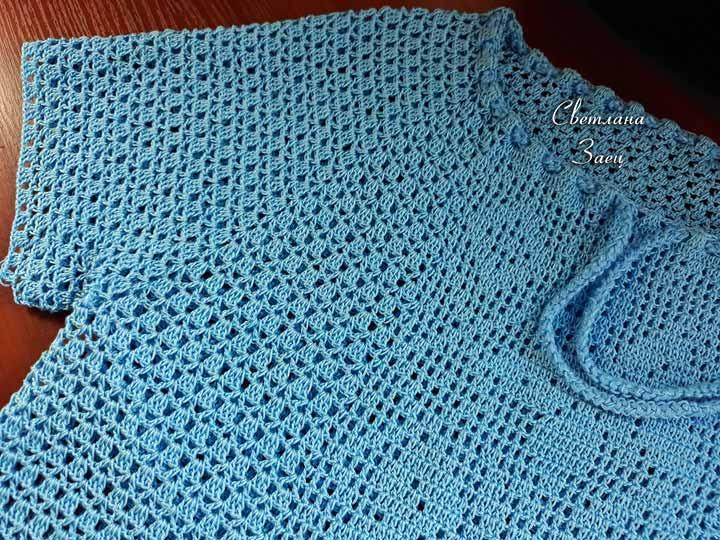 Голубая блуза с бабочками. МК Светланы Заец