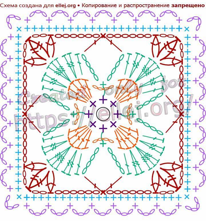 Схема вязания квадратного разноцветного мотива с цветочком