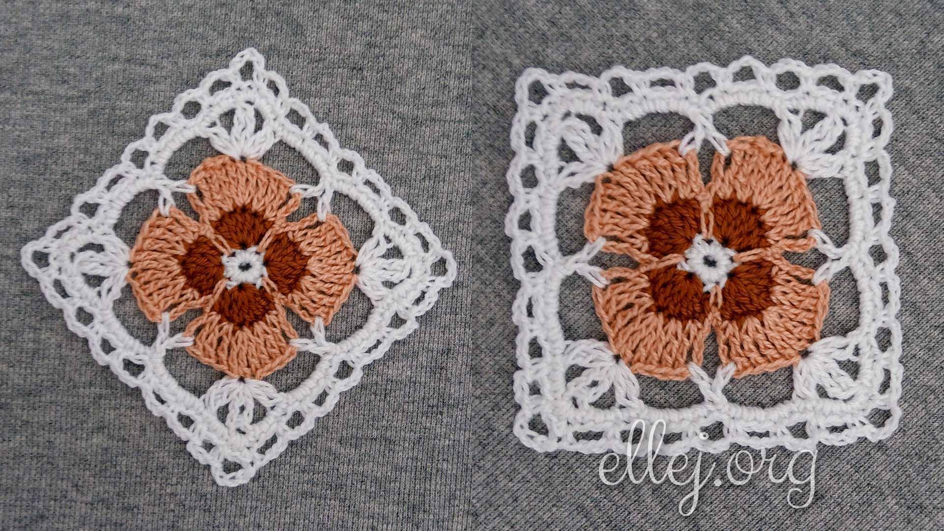 Ажурный квадратный мотив с цветочком