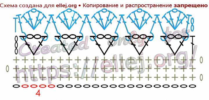 Схема рельефной каймы крючком. Обвязка края Зефирка