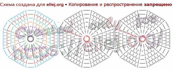 Схема ажурного шестиугольного мотива крючком. Безотрывное вязание