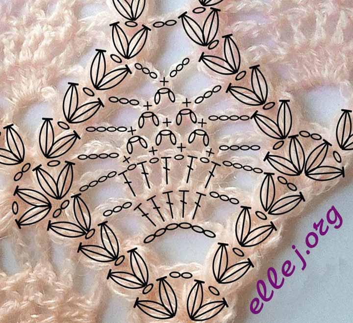 Схема вязания узора для шали с ананасами. Маленькие ананасы и пышные столбики косички. Создано для сайта ellej.org