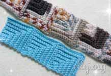 Безотрывное вязание узора Паркет крючком. Узор из квадратиков из столбиков без накида за заднюю полупетлю.