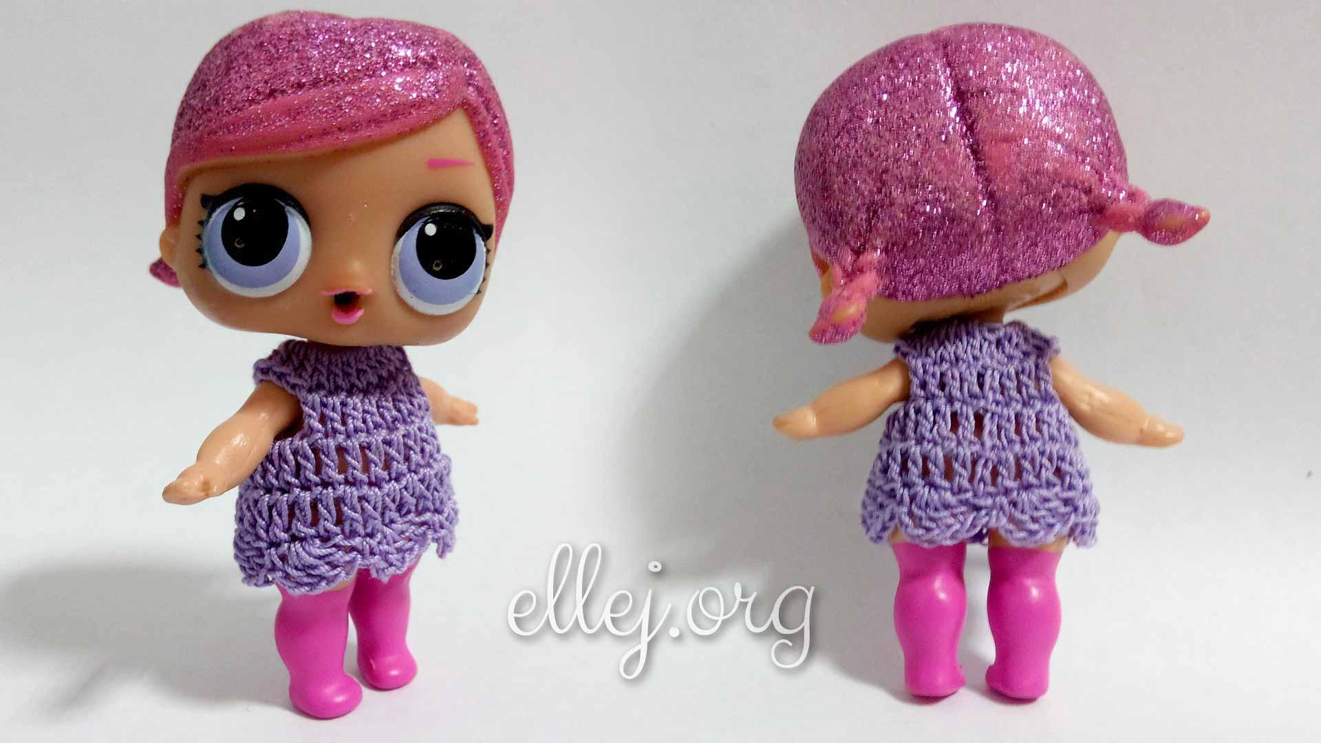 Крохотное платье для куклы L.O.L. крючком