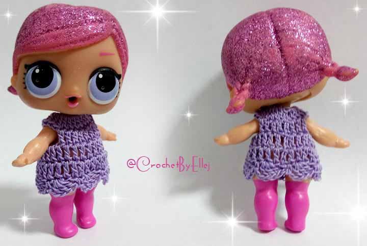 How to crochet tiny LOL dolls dress