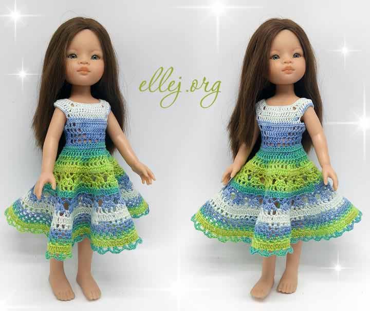 Кукольное платье крючком для Paola Reina