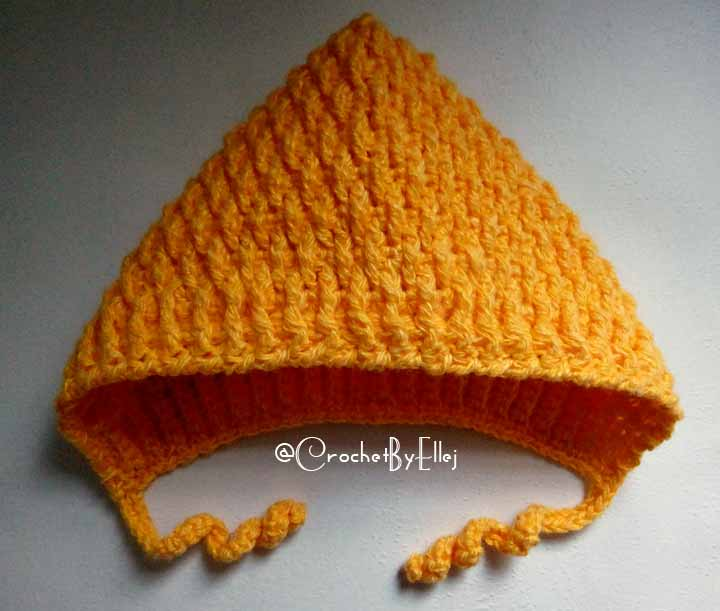 Оранжевый чепчик крючком. Вязание для детей