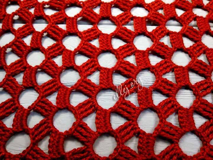 Цветочная сеточка узор крючком. Описание вязания и схема
