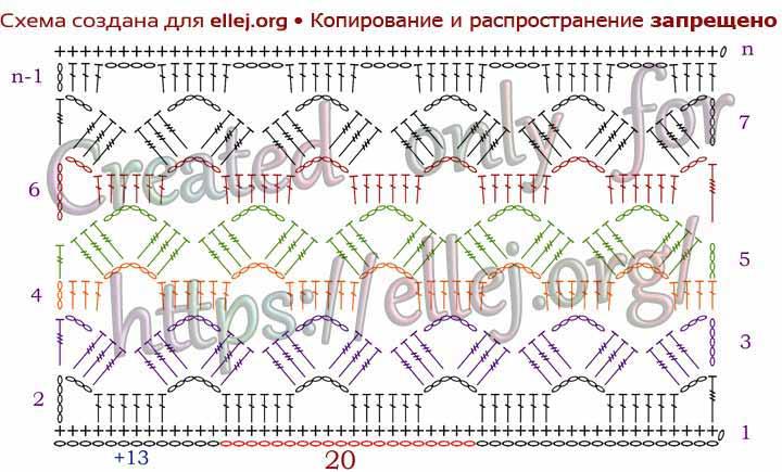 Схема узора сетки крючком Звездочки, цветочки