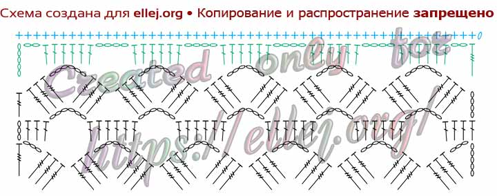Схема ажурного шарфа крючком.