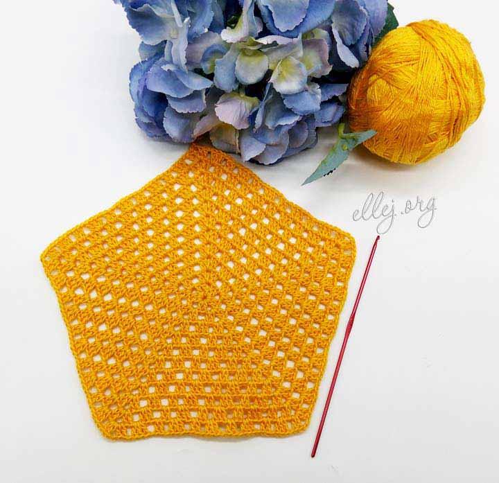 Вязание крючком, пятиугольный мотив