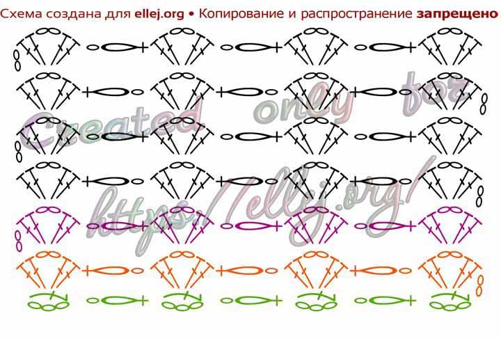 Схема вязания крючком узора с соломоновыми петлями