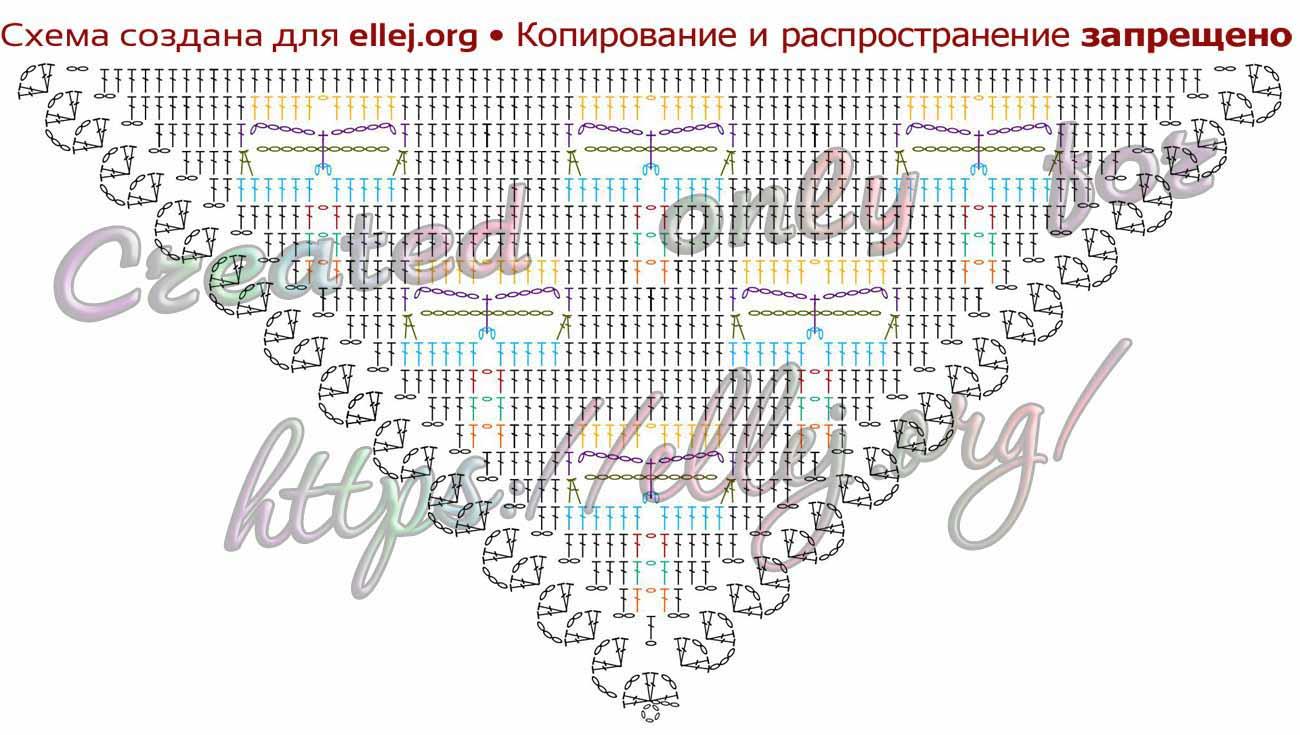 Схема вязания крючком шали Стрекоза