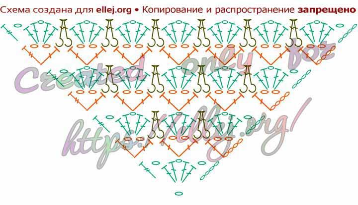 Схема крючком Бактус с рельефным узором Зефирки