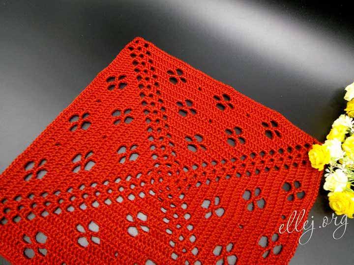 Узор крючком для пледа, квадратный мотив Клевер