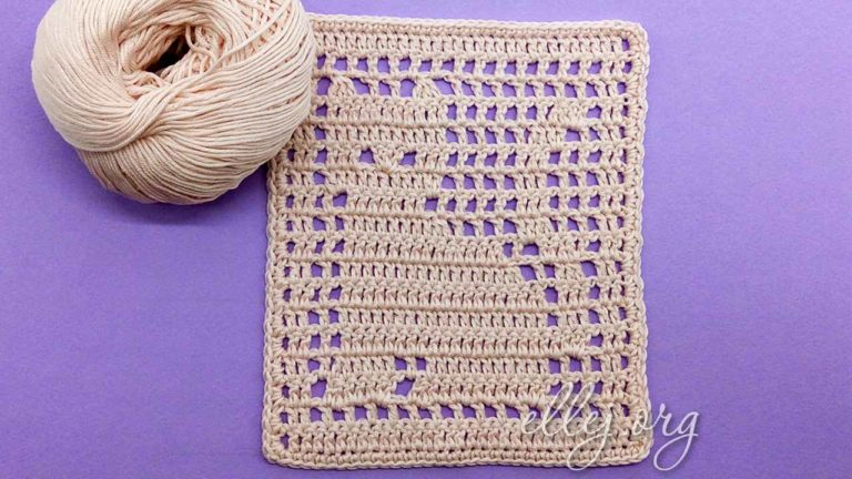 Филейное вязание. Узор с котиком.