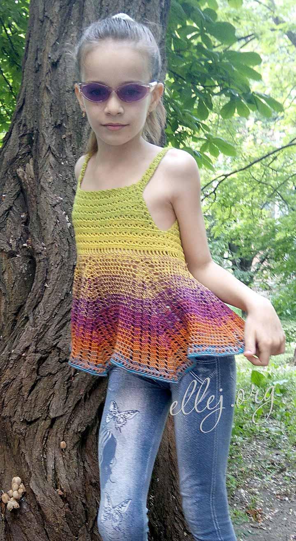 МК и схемы вязания крючком летнего топа для девочки