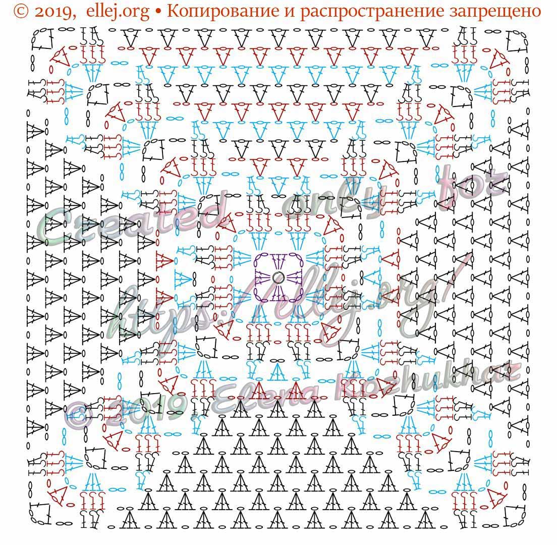 Схема крючком квадратный мотив с рельефными листочками.
