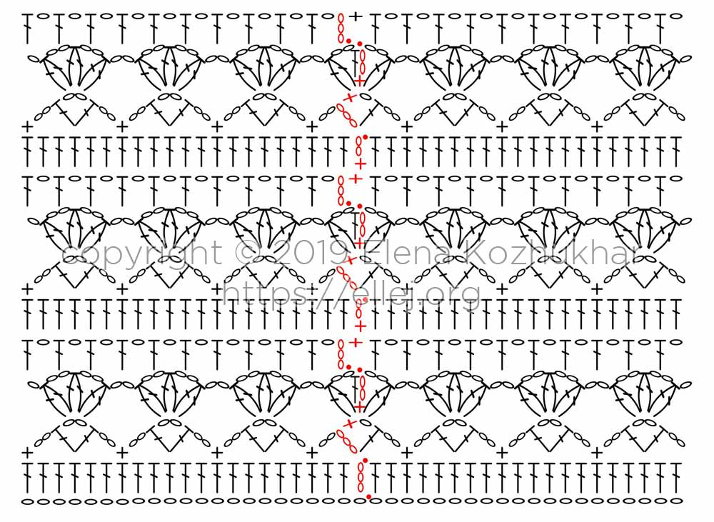 Схема крючком переходов от ряда к ряду. Узор Тюльпаны