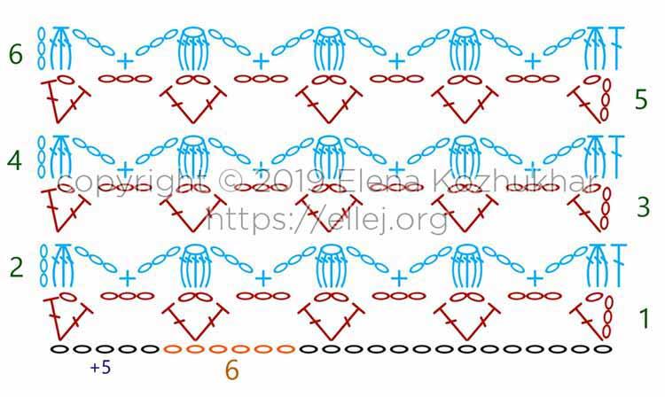 Схема вязания крючком ажурный узор с попкорном
