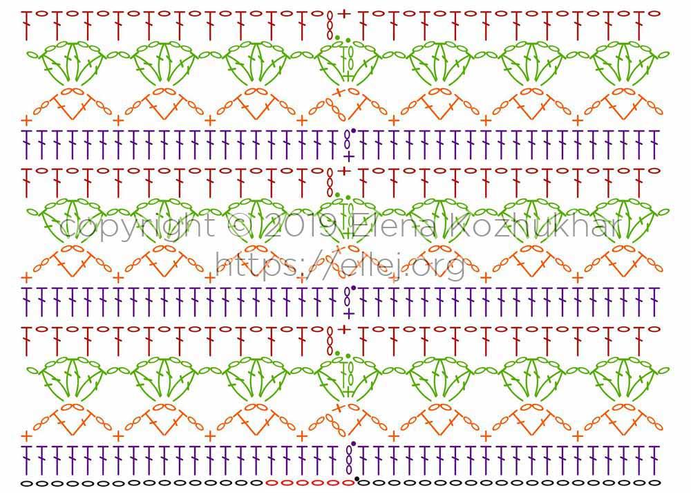 Схема крючком для вязания по кругу. Узор Тюльпаны