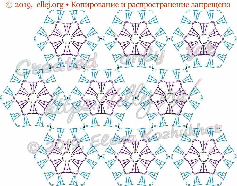 Схема шестиугольных мотивов. Безотрывное вязание
