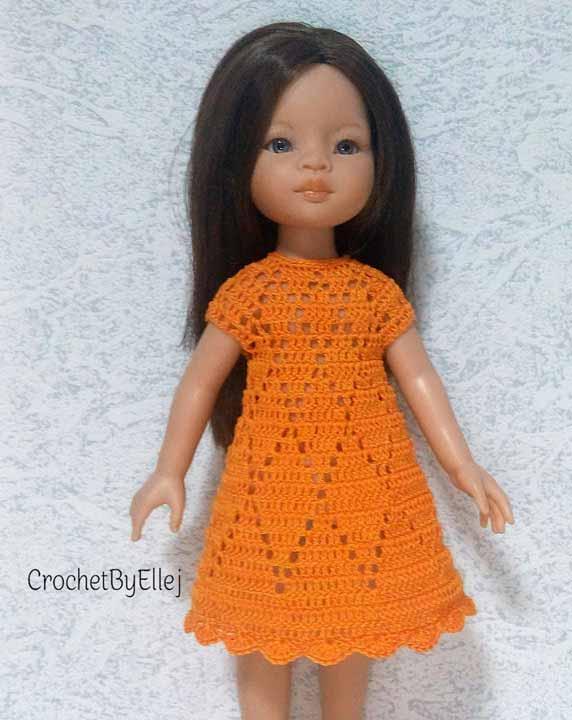Платье из хлопка крючком для куклы