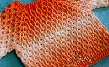 Красивый рельефный узор для реглана крючком Ананас