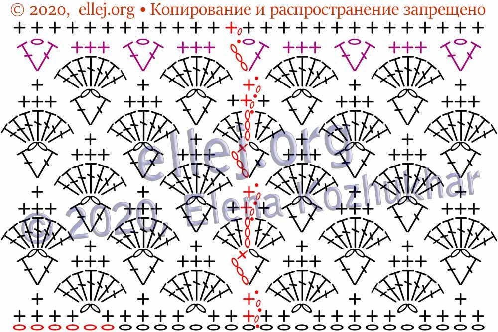 Схема вязания по кругу узора веера