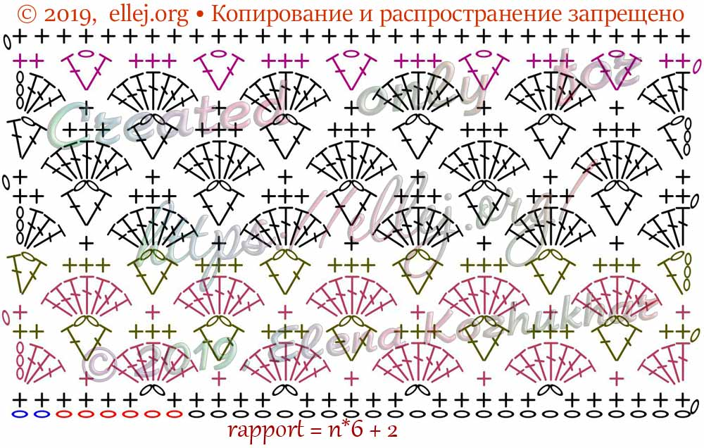 Схема крючком узора с веерочками