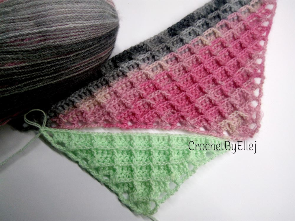 Вафельный узор для треугольной шали