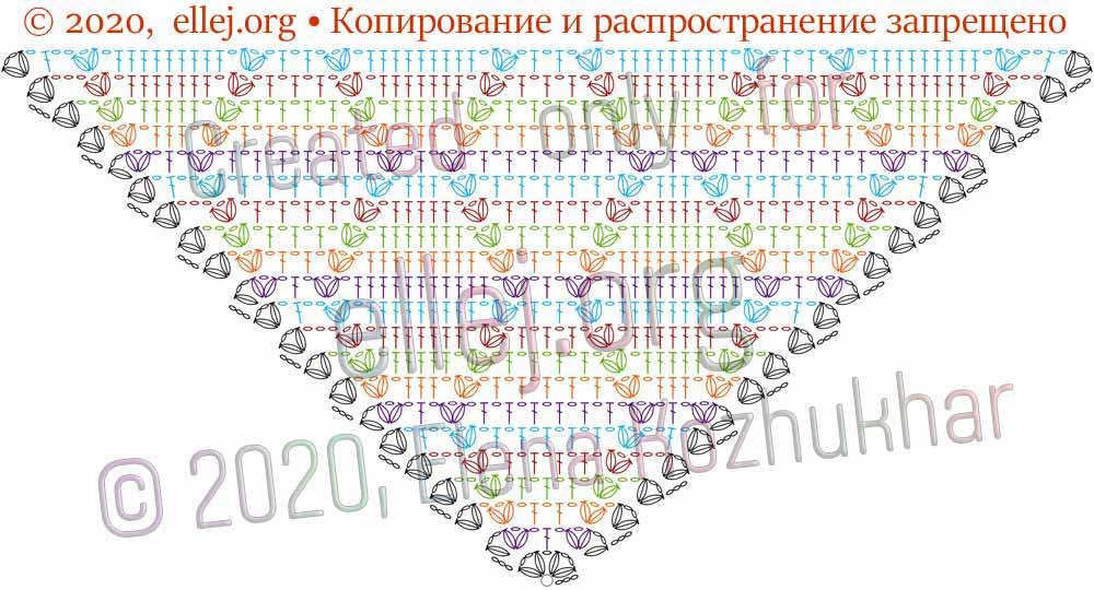 Схема шали Ромбы и косички 4