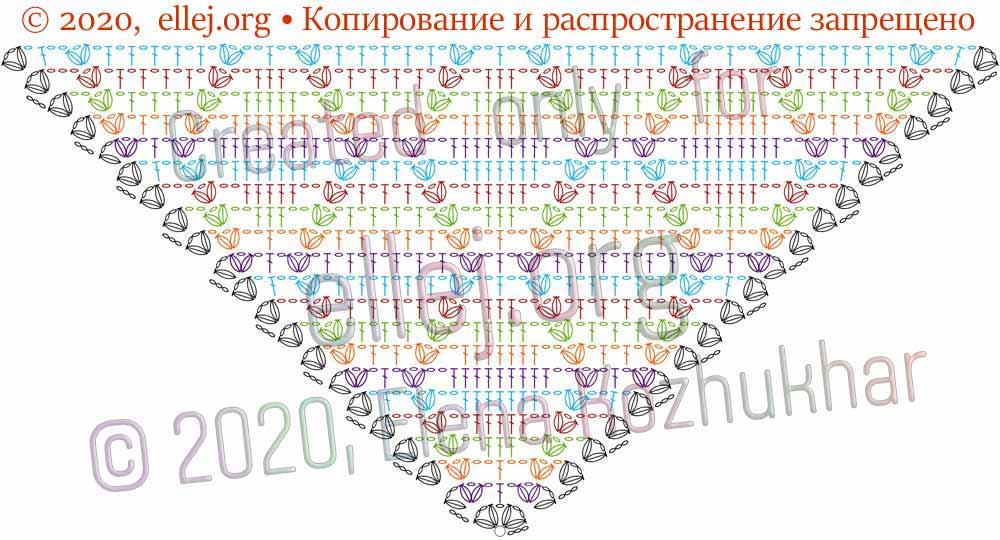 Схема шали Ромбы и косички 5