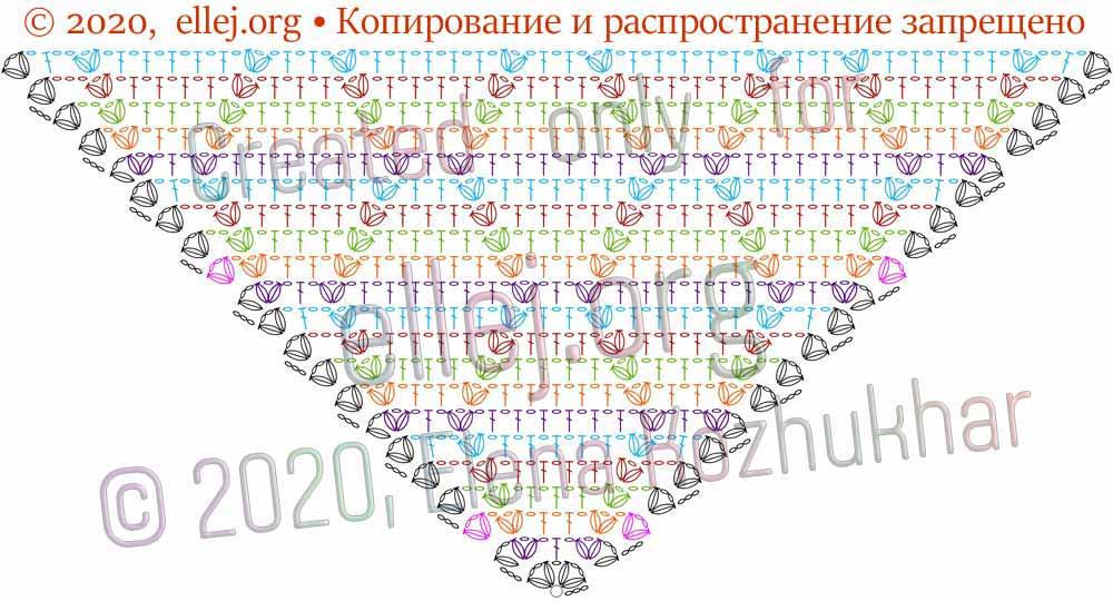 Схема шали Ромбы и косички 6