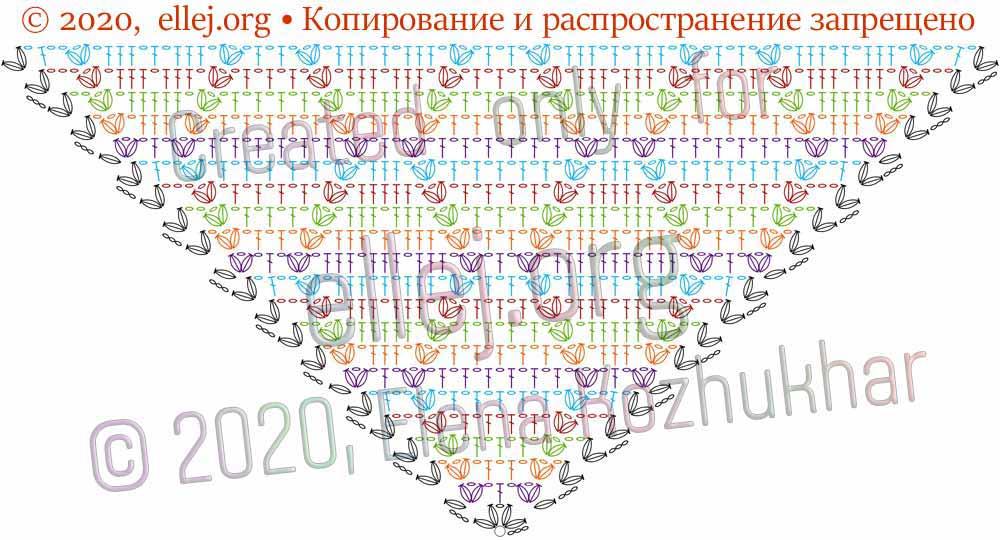 Схема шали Ромбы и косички 7