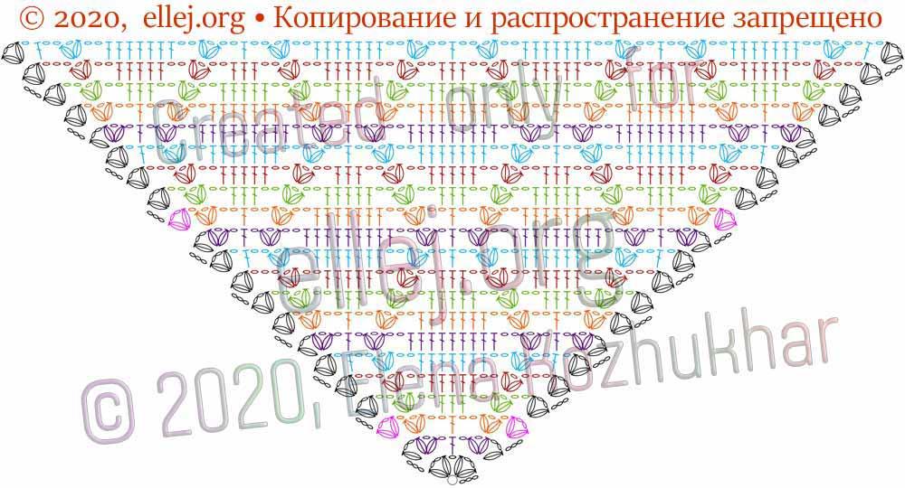 Схема шали Ромбы и косички 8