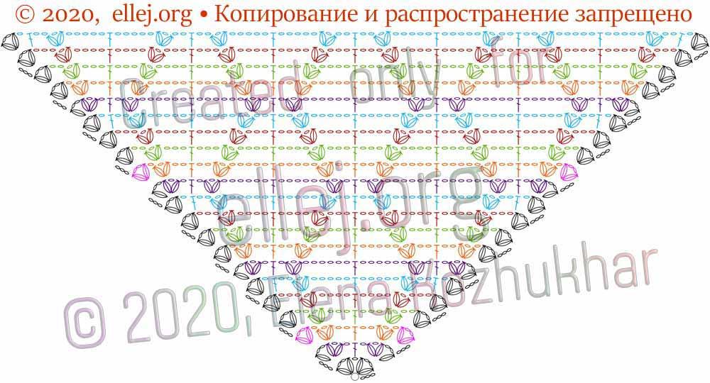 Схема шали Ромбы и косички 9