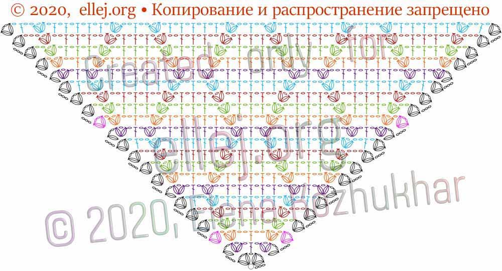 Схема шали Ромбы и косички 10