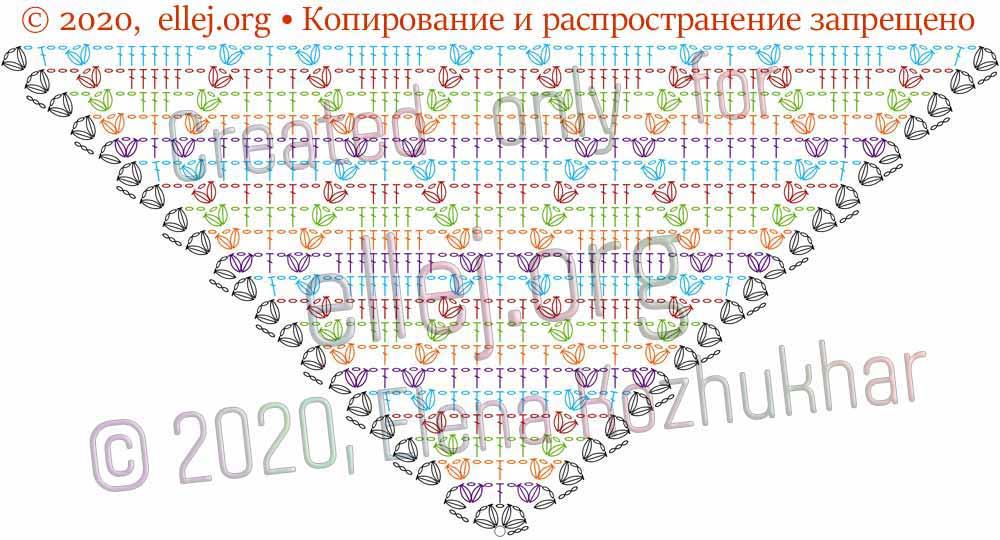 Схема шали Ромбы и косички 11