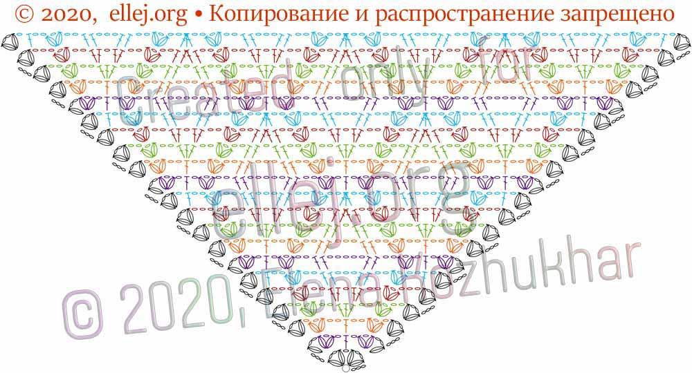 Схема шали Ромбы и косички 12