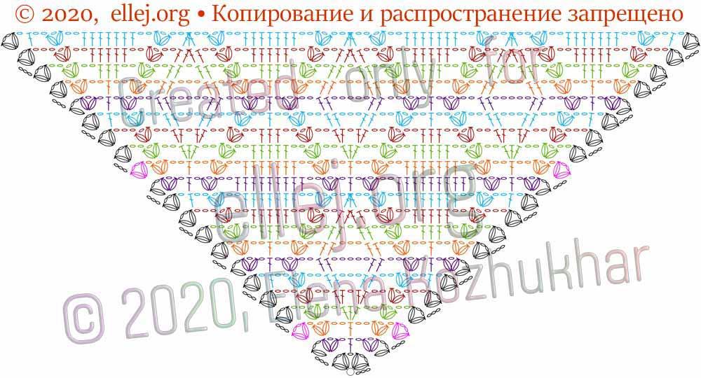 Схема шали Ромбы и косички 13