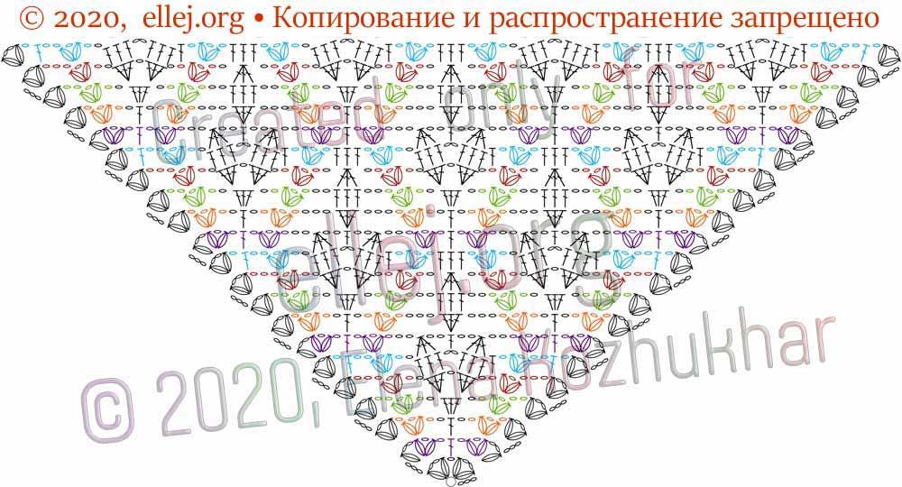 Схема шали Ромбы и косички 14