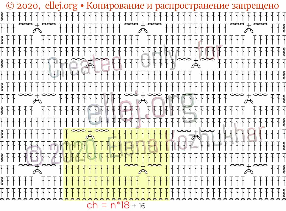 Схема узора трилистник крючком