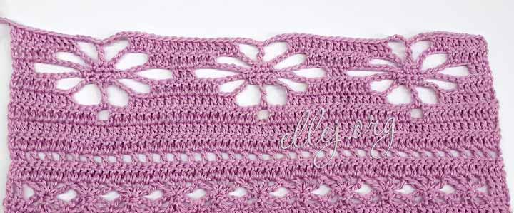 Вязание узора с крупными цветами