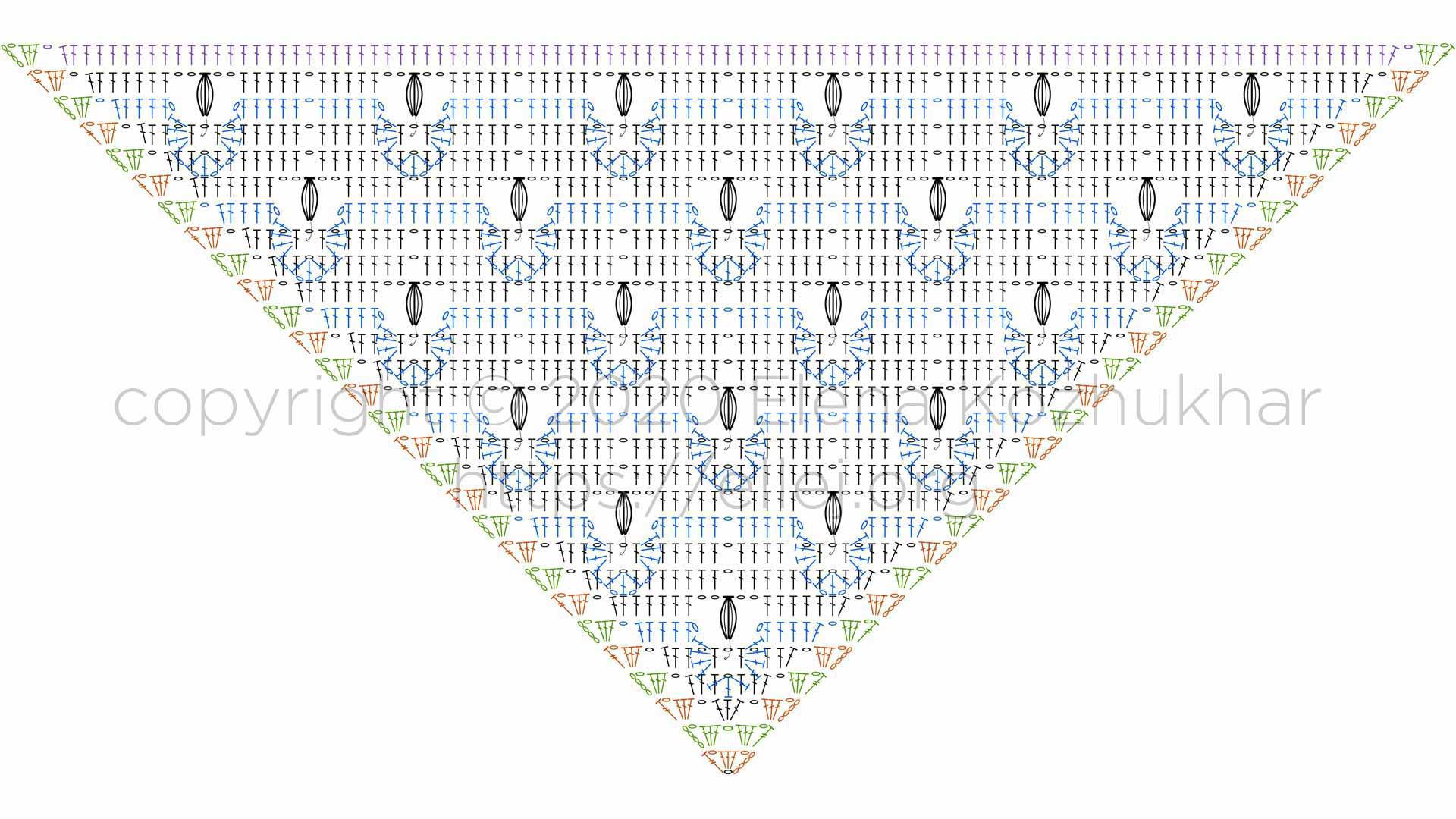 Схема бактуса с 3д узором крючком
