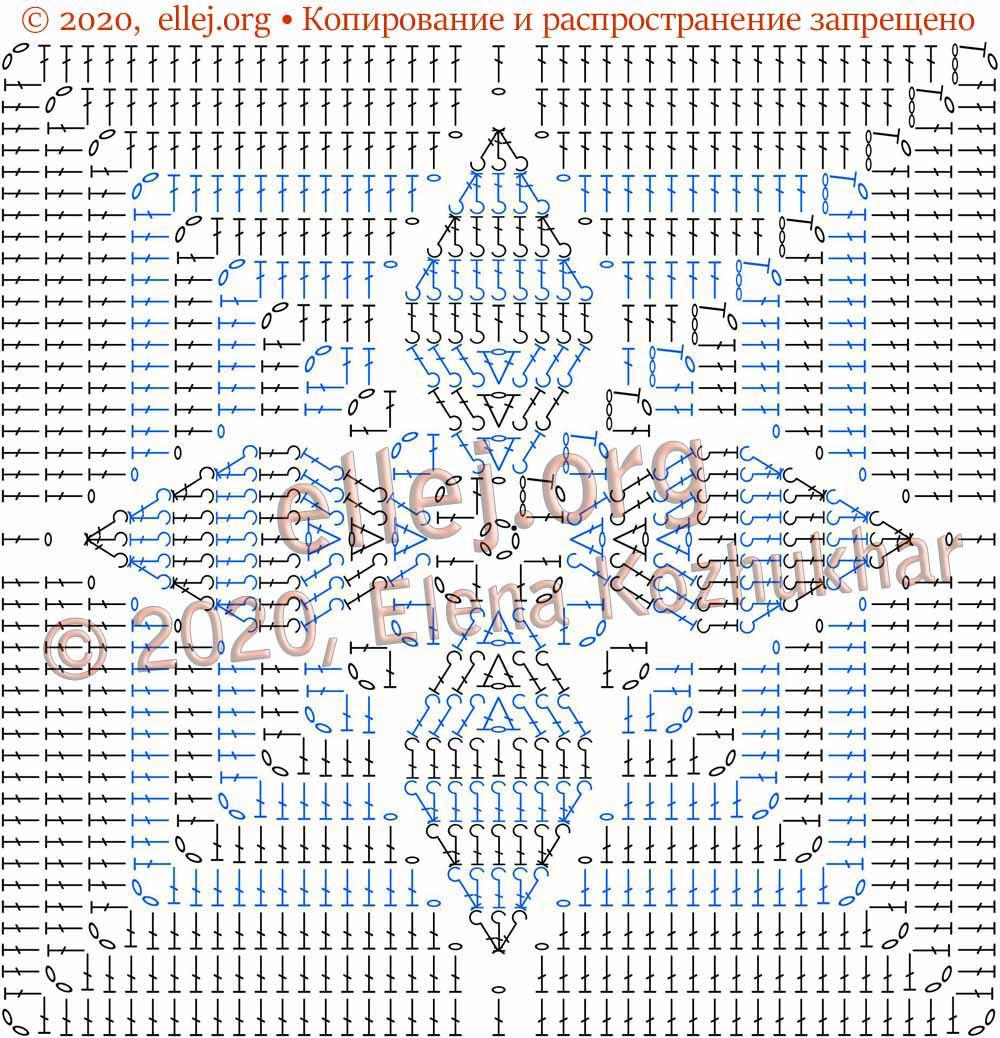 Схема квадратного мотива с рельефными листочками
