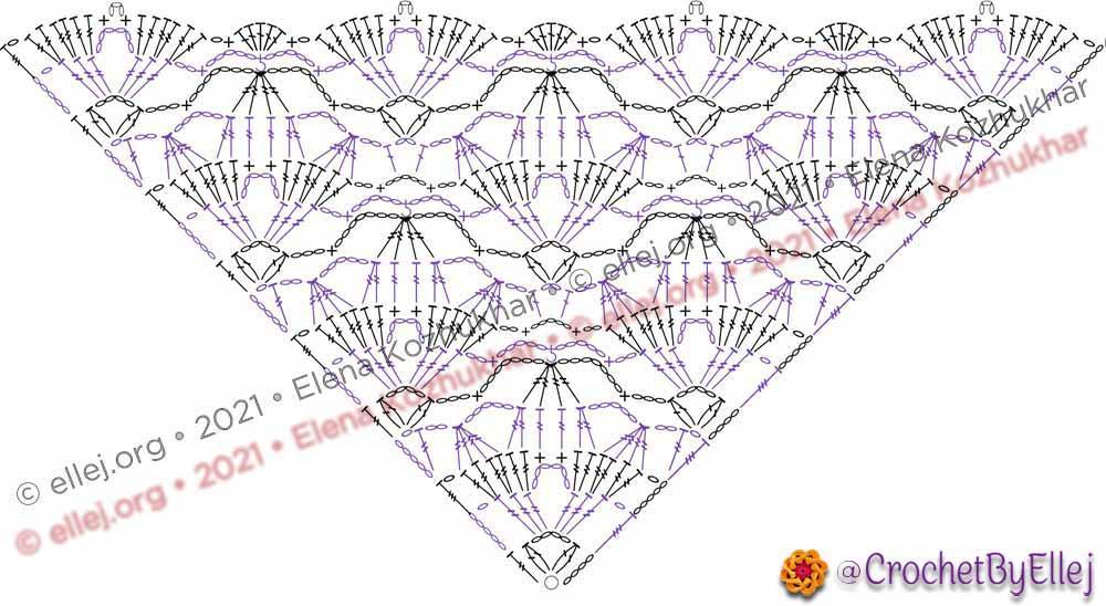 Схема шали Звездные лилии от угла