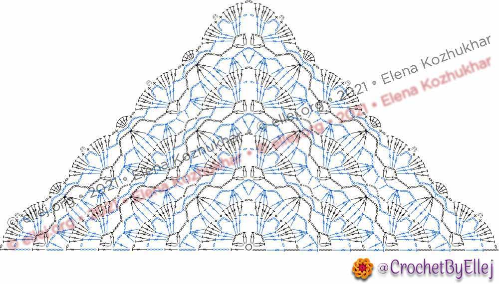 Схема шали Звездные лилии от центральной части